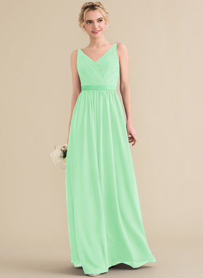 A-Line V-neck Floor-Length Chiffon Evening Dress With Ruffle Bow(s)
