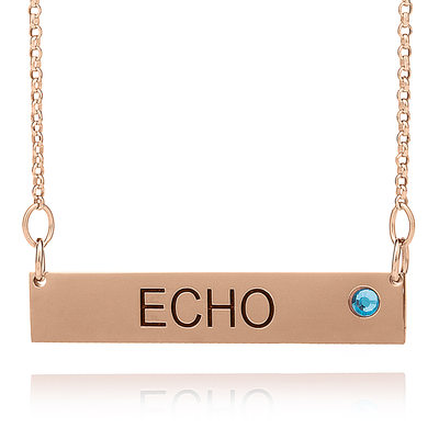 Custom 18k Rose Gold Plated Silver Name Birthstone Necklace Bar Necklace With Birthstone - Birthday Gifts Mother's Day Gifts