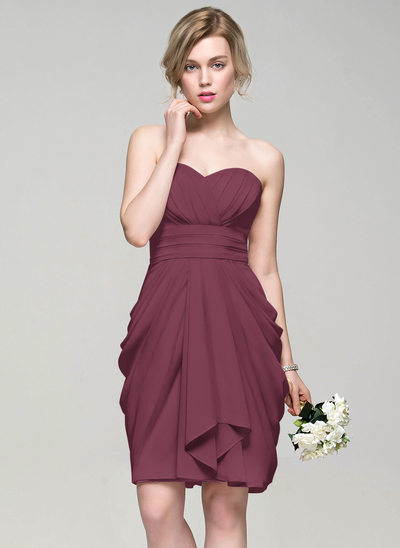 Sheath/Column Sweetheart Knee-Length Chiffon Bridesmaid Dress With Cascading Ruffles