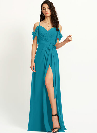 A-Line V-neck Floor-Length Prom Dresses With Ruffle Split Front