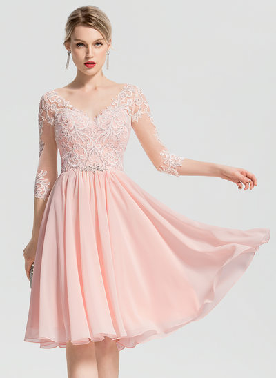5e4029c052 A-Line V-neck Knee-Length Chiffon Cocktail Dress With Beading