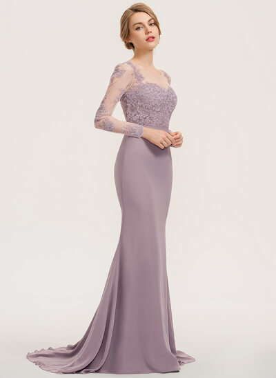 Trumpet/Mermaid Scoop Neck Sweep Train Chiffon Lace Bridesmaid Dress