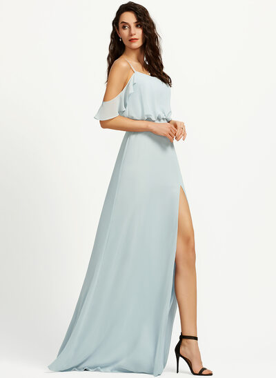 A-Line Off-the-Shoulder Floor-Length Bridesmaid Dress With Split Front