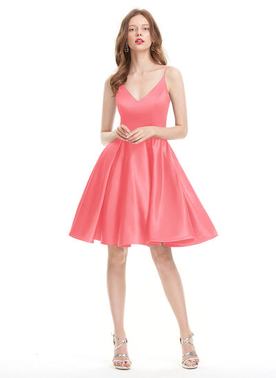 A-Line/Princess V-neck Knee-Length Satin Prom Dresses