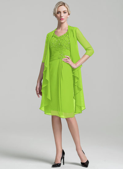 Sheath/Column V-neck Knee-Length Chiffon Mother of the Bride Dress With Ruffle Beading Sequins