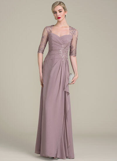 A-Line Sweetheart Floor-Length Chiffon Lace Mother of the Bride Dress With Beading Sequins Cascading Ruffles