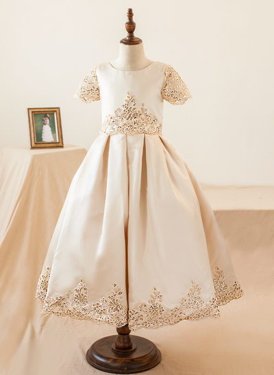 Ball Gown Knee-length Flower Girl Dress - Satin Short Sleeves Scoop Neck With Appliques/Sequins