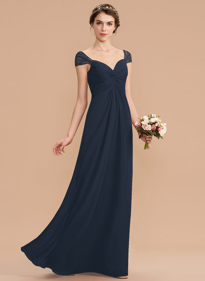 A-Line Sweetheart Floor-Length Chiffon Bridesmaid Dress With Ruffle Beading Sequins