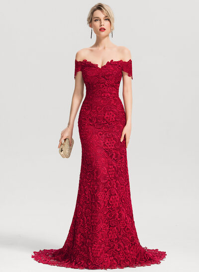 c7a8aa2341a31 Trumpet/Mermaid Off-the-Shoulder Sweep Train Lace Evening Dress