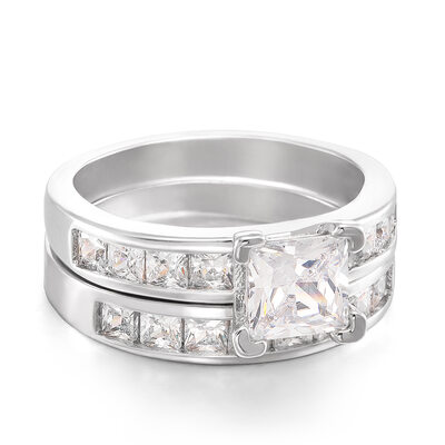 Sterling Silver Cubic Zirconia Halo Princess Cut Promise Rings Bridal Sets -