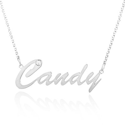Custom Sterling Silver Nameplate Name Necklace With Diamond
