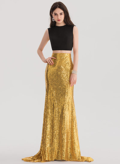 Trumpet/Mermaid Scoop Neck Sweep Train Sequined Prom Dress