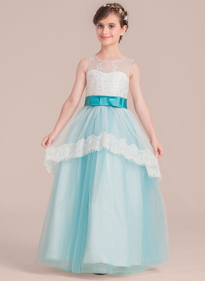 A-Line/Princess Floor-length Flower Girl Dress - Satin/Tulle/Lace Sleeveless Scoop Neck With Bow(s)