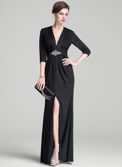 Sheath/Column V-neck Floor-Length Jersey Evening Dress With Ruffle Beading Sequins Split Front