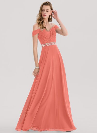 A-Line Sweetheart Floor-Length Chiffon Evening Dress With Beading Sequins