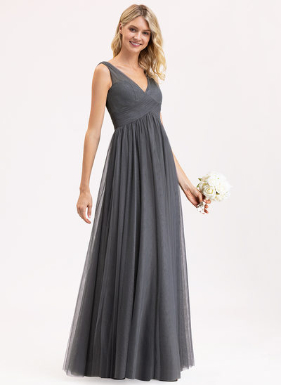 Empire V-neck Floor-Length Tulle Lace Bridesmaid Dress With Ruffle