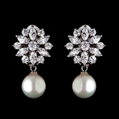Beautiful Pearl/Zircon Ladies' Earrings