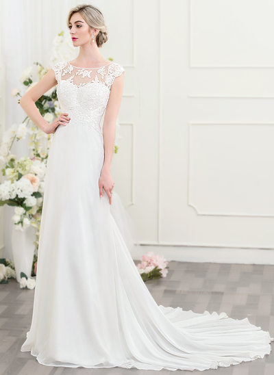 A-Line/Princess Scoop Neck Court Train Chiffon Wedding Dress With Ruffle Beading Sequins Bow(s)