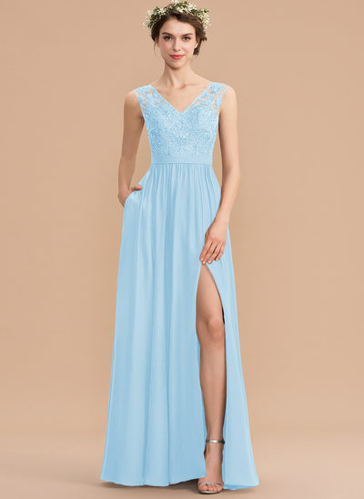 A-Line V-neck Floor-Length Chiffon Lace Bridesmaid Dress With Beading Sequins Split Front Pockets