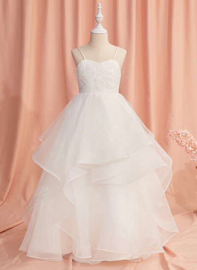 Ball-Gown/Princess Floor-length Flower Girl Dress - Tulle Sleeveless Sweetheart/Straps With Lace/Flower(s)