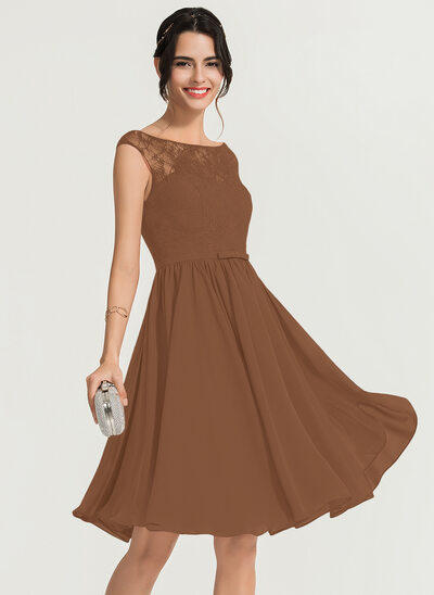 A-Line Scoop Neck Knee-Length Chiffon Cocktail Dress