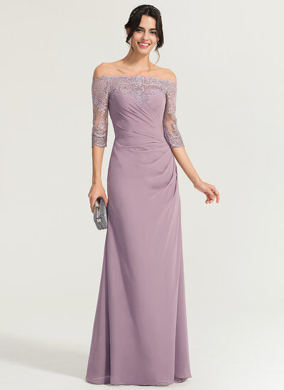Sheath/Column Off-the-Shoulder Floor-Length Chiffon Evening Dress With Ruffle