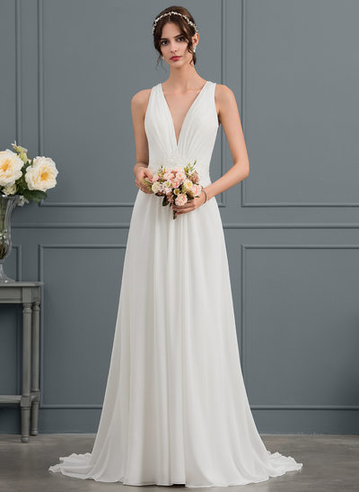 A-Line/Princess V-neck Sweep Train Chiffon Wedding Dress With Sequins