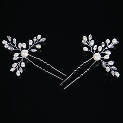 Ladies Glamourous Crystal/Imitation Pearls Hairpins (Set of 2)