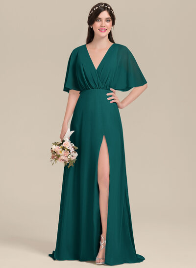 A-Line V-neck Floor-Length Chiffon Bridesmaid Dress With Bow(s) Split Front
