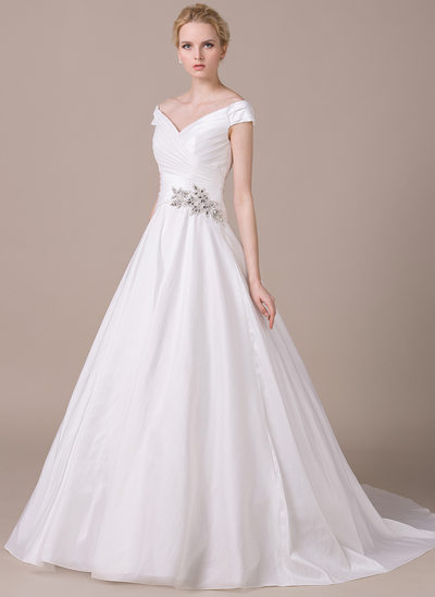 Ball-Gown Off-the-Shoulder Chapel Train Taffeta Wedding Dress With Ruffle Beading