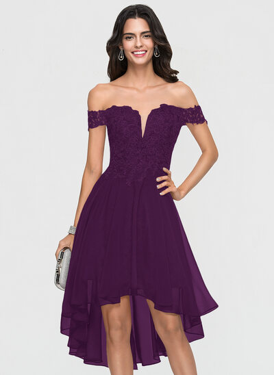 A-Line/Princess Off-the-Shoulder Asymmetrical Chiffon Homecoming Dress With Lace Beading