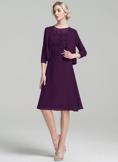 A-Line Scoop Neck Knee-Length Chiffon Mother of the Bride Dress With Beading Sequins