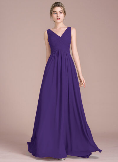 32a1c58d54e A-Line Princess V-neck Floor-Length Chiffon Bridesmaid Dress With Ruffle
