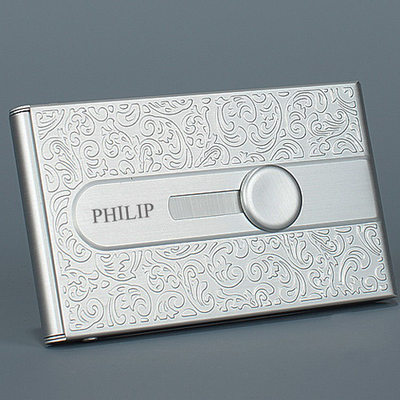 Groomsmen Gifts - Personalized Modern Stainless Steel Card Case