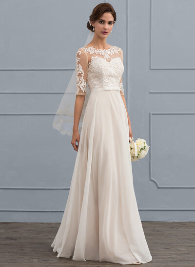 A-Line Scoop Neck Floor-Length Chiffon Wedding Dress With Beading Sequins Bow(s)