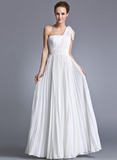 A-Line/Princess One-Shoulder Floor-Length Chiffon Holiday Dress With Ruffle