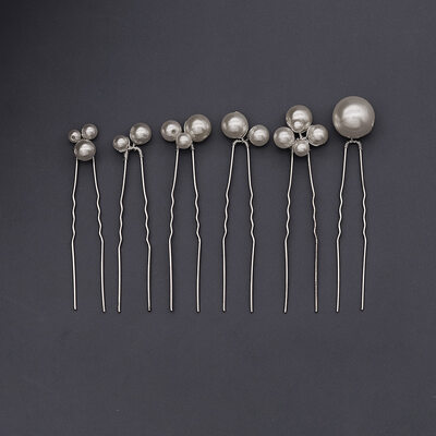 Ladies Beautiful Imitation Pearls Combs & Barrettes With Venetian Pearl (Set of 6)
