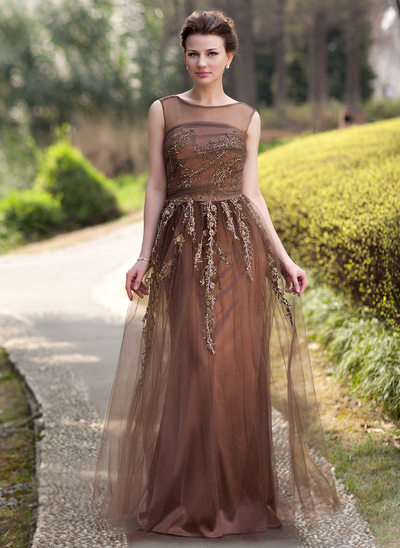 A-Line/Princess Scoop Neck Floor-Length Tulle Mother of the Bride Dress With Beading Appliques Lace Sequins