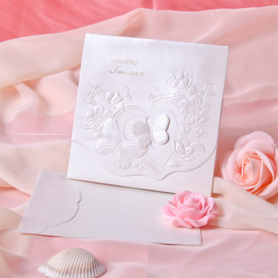 Perhonen tyyli Tri-Fold Invitation Cards (Sarja 10)