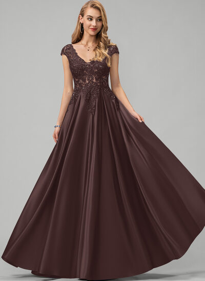 A-Line V-neck Floor-Length Satin Prom Dresses With Lace Sequins