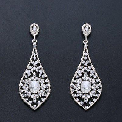 Ladies' Elegant Alloy/Zircon Earrings For Bride