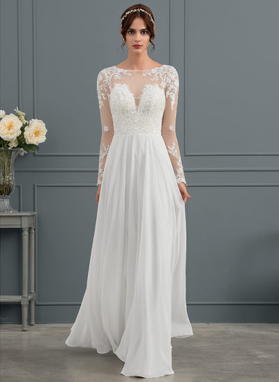 A-Line Scoop Neck Floor-Length Chiffon Wedding Dress With Beading