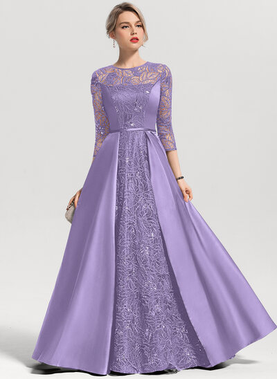 A-Line/Princess Scoop Neck Floor-Length Satin Evening Dress With Sequins