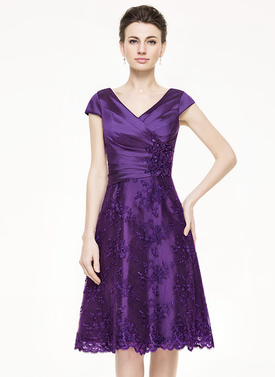A-Line V-neck Knee-Length Taffeta Lace Mother of the Bride Dress With Ruffle Beading Sequins