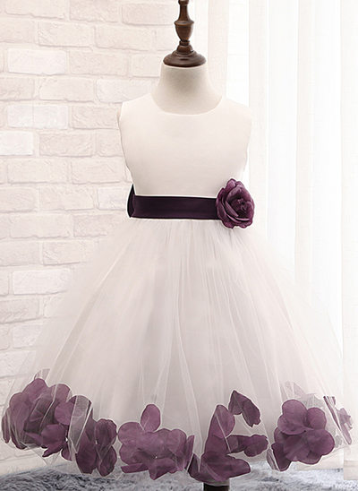 Ball Gown Knee-length Flower Girl Dress - Cotton Blends Sleeveless Scoop Neck With Flower(s)/Bow(s)
