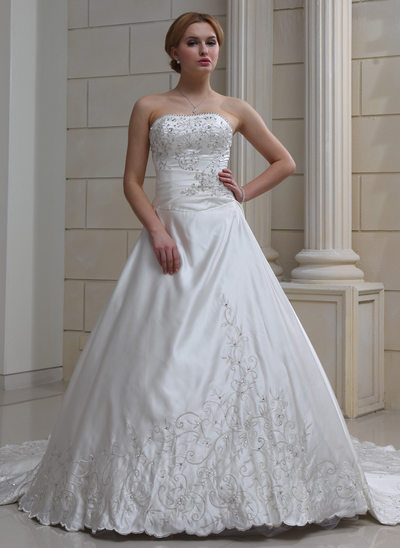 Ball-Gown Sweetheart Royal Train Satin Wedding Dress With Embroidered Beading