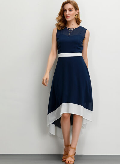 A-Line Scoop Neck Asymmetrical Cocktail Dress