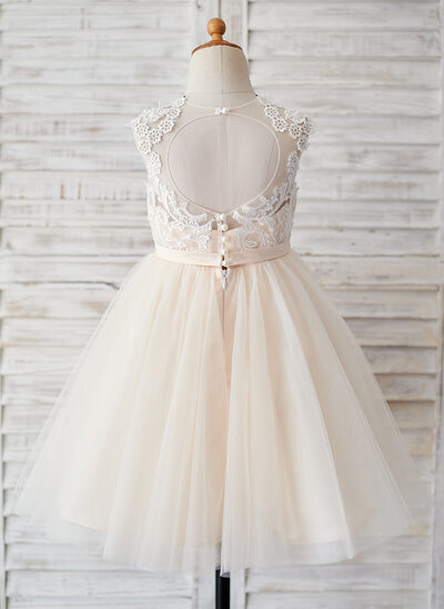A-Line Knee-length Flower Girl Dress - Tulle Sleeveless Scoop Neck With Back Hole