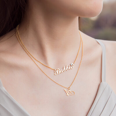 Custom 18k Gold Plated Silver Cursive 'Carrie' Style Name Necklace Initial Necklace With Birthstone (Set of 2) - Birthday Gifts Mother's Day Gifts