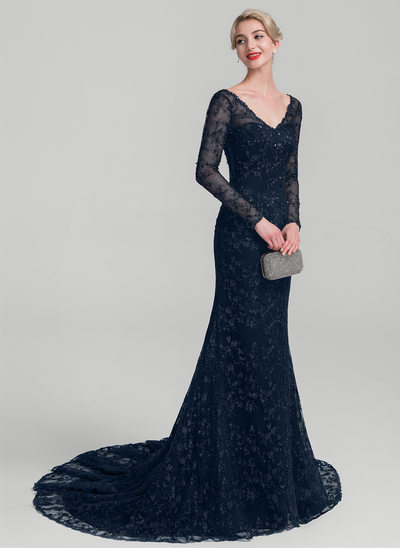 Trumpet/Mermaid V-neck Court Train Lace Evening Dress With Beading Sequins